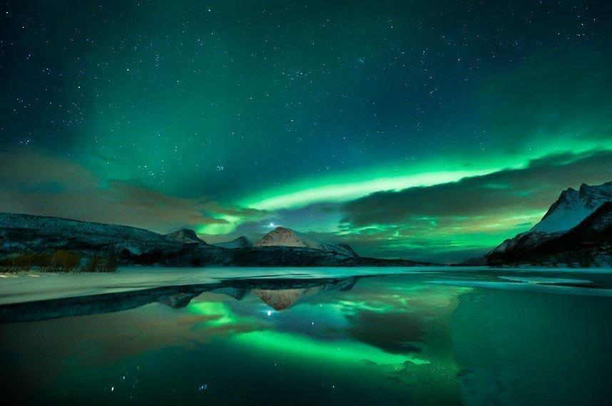 Северное сияние в небе Норвегии